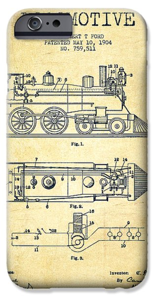 Train iPhone Cases - Vintage Locomotive patent from 1904 - Vintage iPhone Case by Aged Pixel