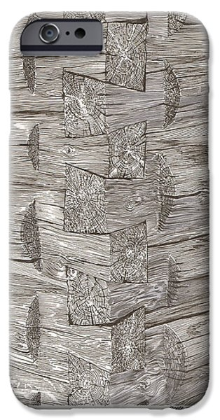 Cabin Corner iPhone Cases - Vintage log cabin corner detail iPhone Case by Jack Pumphrey