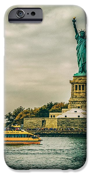 Hudson River iPhone Cases - Vintage look of the Statue of Liberty - Liberty Island Hudson River New York City iPhone Case by Silvio Ligutti