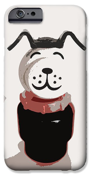 Dog And Toy iPhone Cases - Vintage Lucky Dog iPhone Case by The  Vault - Jennifer Rondinelli Reilly
