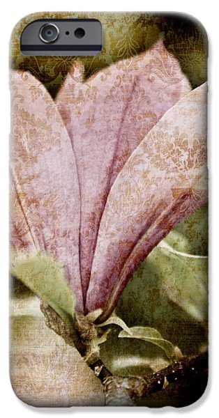 Botanical Mixed Media iPhone Cases - Vintage Magnolia iPhone Case by Frank Tschakert