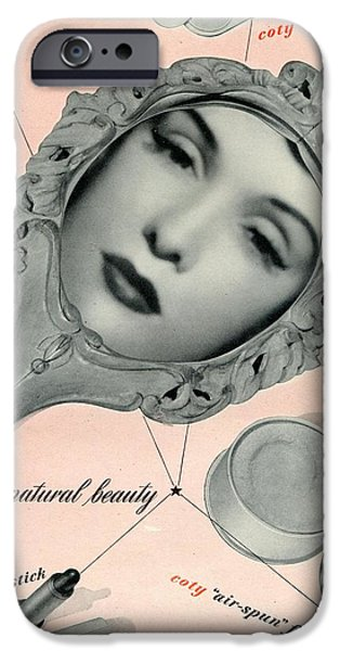 1950s Movies iPhone Cases - Vintage Make Up Advert iPhone Case by Nomad Art And  Design