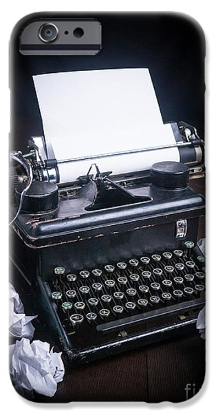 Typewriter Keys iPhone Cases - Vintage Manual Typewriter iPhone Case by Edward Fielding