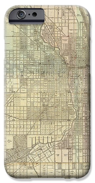 Recently Sold -  - Sears Tower iPhone Cases - Vintage Map of Chicago - 1857 iPhone Case by Nomad Art And  Design