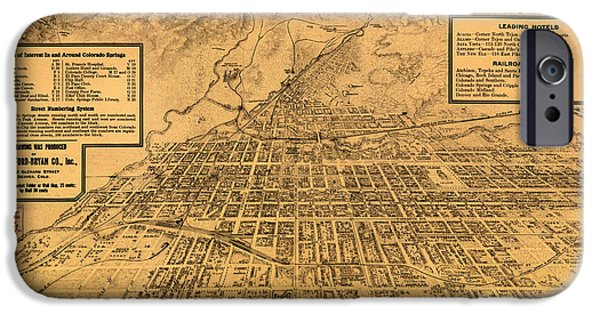 Colorado Drawings iPhone Cases - Vintage Map of Colorado Springs 1909 iPhone Case by Mountain Dreams