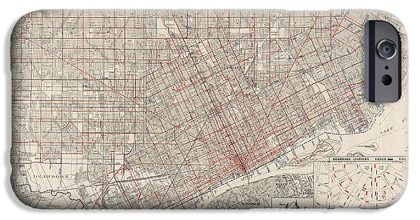 Street Drawings iPhone Cases - Vintage Map of Detroit Michigan from 1947 iPhone Case by Blue Monocle