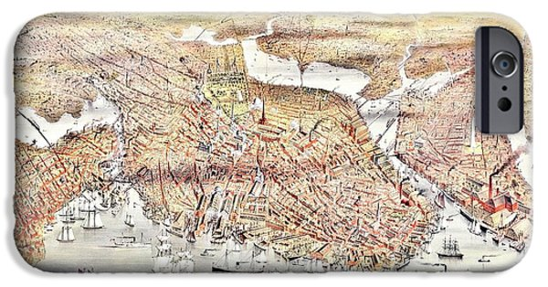 Boston Map iPhone Cases - Vintage Map of the City of Boston iPhone Case by Benjamin Yeager