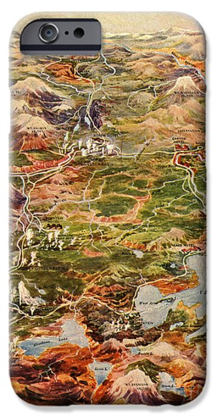 Grand Canyon iPhone Cases - Vintage Map of Yellowstone National Park iPhone Case by Vintage Map