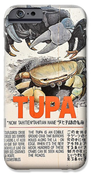 Chinese Market iPhone Cases - Vintage Market Sign 4 - Papeete - Tahiti - Tupa - Crab iPhone Case by Ian Monk