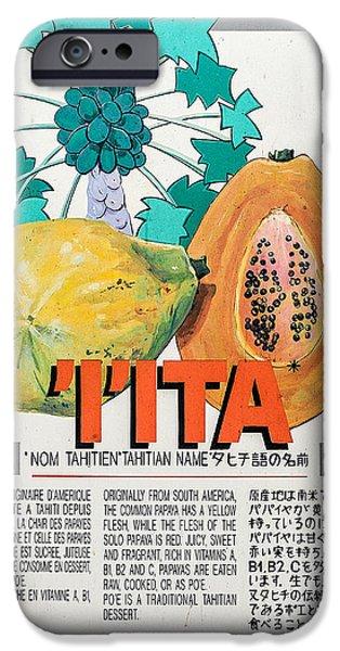 Chinese Market iPhone Cases - Vintage Market Sign 5 - Papeete - Tahiti - IIta - Papaya iPhone Case by Ian Monk