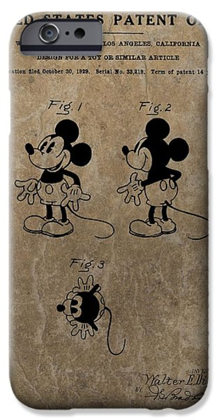 Toy Store iPhone Cases - Vintage Mickey Mouse Patent iPhone Case by Dan Sproul