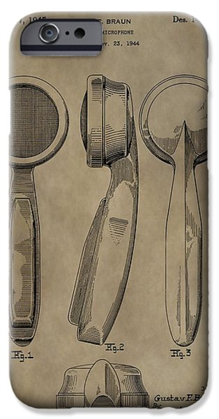 Electrical iPhone Cases - Vintage Microphone Patent iPhone Case by Dan Sproul
