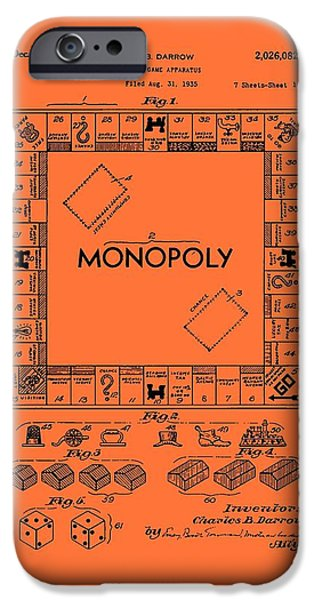 Board Drawings iPhone Cases - Vintage Monopoly Game Patent iPhone Case by Mountain Dreams