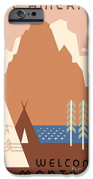 Vintage Travel iPhone Cases - Vintage Montana Travel Poster iPhone Case by Jon Neidert