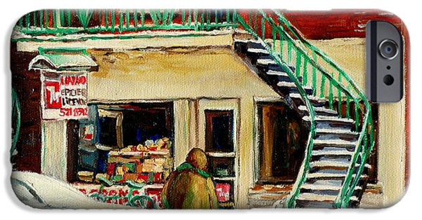 Montreal Storefronts Paintings iPhone Cases - Vintage Montreal Art Verdun Depanneur Winter Scene Paintings Staircases And 7up Signs Carole Spandau iPhone Case by Carole Spandau