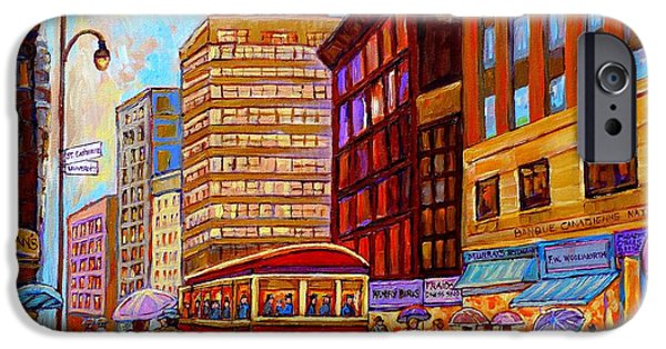 Rainy Day iPhone Cases - Vintage Montreal St.catherine And University With Streetcar iPhone Case by Carole Spandau