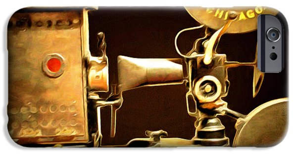 Lumiere iPhone Cases - Vintage Motion Picture Camera 7D13221 20150220 square iPhone Case by Wingsdomain Art and Photography