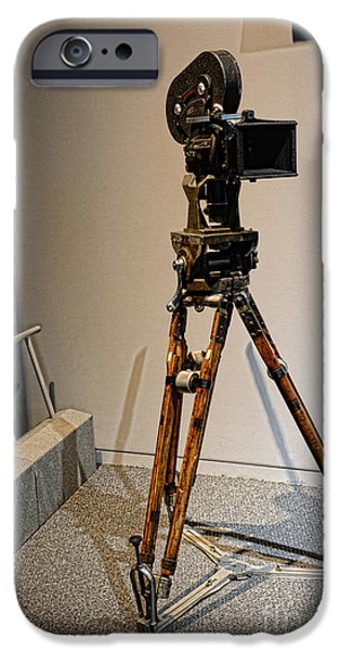 Big Screen iPhone Cases - Vintage Movie Camera on Tripod iPhone Case by Paul Ward