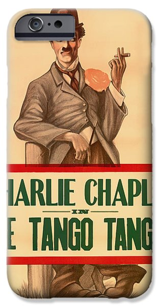 1910s Poster Art iPhone Cases - Vintage Movie Poster - Charlie Chaplin in the Tango Tangle 1914 iPhone Case by Mountain Dreams