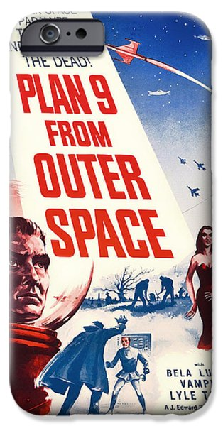 1950s Movies iPhone Cases - Vintage Movie Poster - Plan 9 from Outer Space iPhone Case by Mountain Dreams