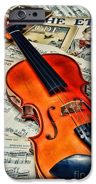 Sheets iPhone Cases - Vintage Music and Violin iPhone Case by Paul Ward