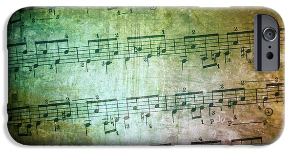 Dirty iPhone Cases - Vintage Music Sheet iPhone Case by Carlos Caetano