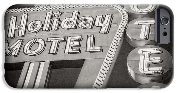 The Strip iPhone Cases - Vintage Neon Sign Holiday Motel Las Vegas Nevada iPhone Case by Edward Fielding