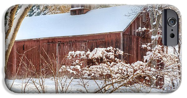 Red Barn In Winter Photographs iPhone Cases - Vintage New England Barn iPhone Case by Bill  Wakeley