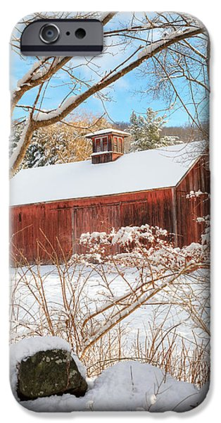 Red Barn In Winter iPhone Cases - Vintage New England Barn Portrait iPhone Case by Bill  Wakeley