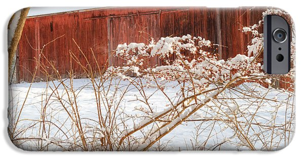 Barns In Snow iPhone Cases - Vintage New England Barn Portrait Square iPhone Case by Bill  Wakeley