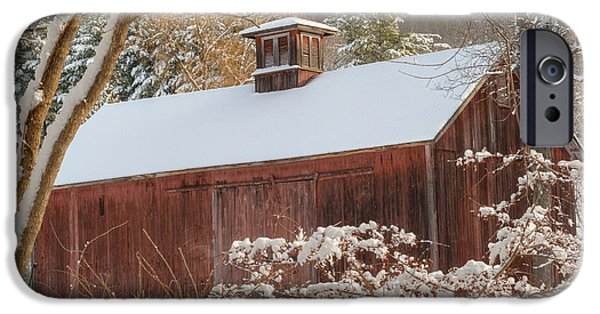 Red Barn In Winter Photographs iPhone Cases - Vintage New England Barn Square iPhone Case by Bill  Wakeley