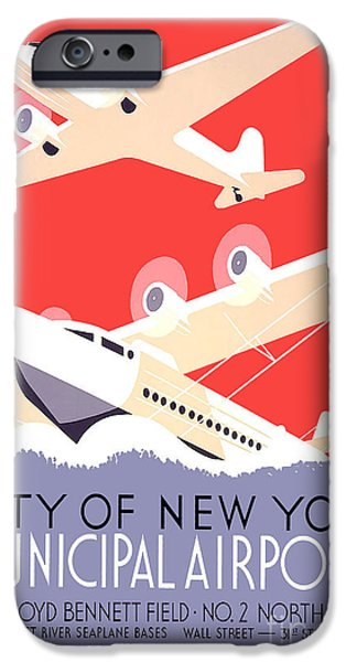 North Sea Drawings iPhone Cases - Vintage New York Travel Poster iPhone Case by Jon Neidert