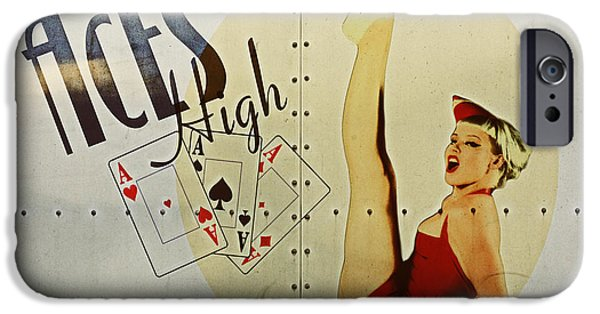 Pin-up iPhone Cases - Vintage Nose Art Aces High iPhone Case by Cinema Photography