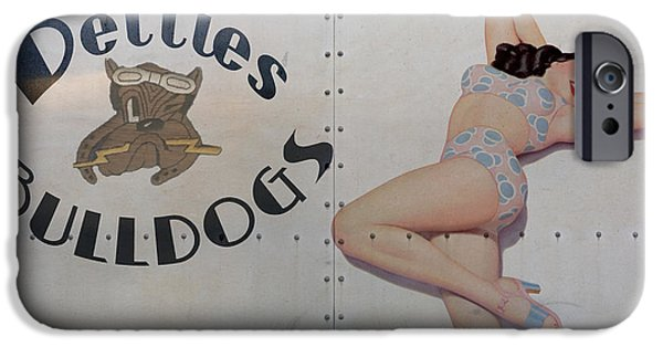 Nose Digital Art iPhone Cases - Vintage Nose Art Betties Bulldogs iPhone Case by Cinema Photography