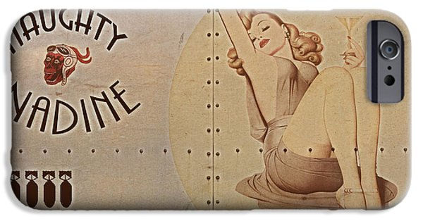 Nose Digital Art iPhone Cases - Vintage Nose Art Naughty Nadine iPhone Case by Cinema Photography
