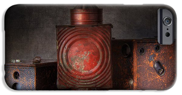 Oil Lamp Photographs iPhone Cases - Vintage Oil Darkroom Lamp iPhone Case by David and Carol Kelly