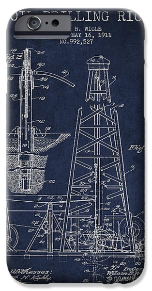 Industry Digital Art iPhone Cases - Vintage Oil drilling rig Patent from 1911 iPhone Case by Aged Pixel