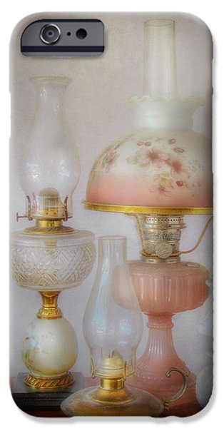 Oil Lamp Photographs iPhone Cases - Vintage Oil Lamps iPhone Case by David and Carol Kelly