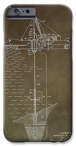 Sea Platform iPhone Cases - Vintage Oil Platform Patent iPhone Case by Dan Sproul