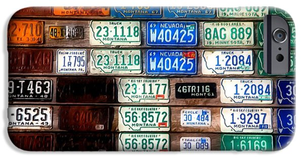 Multiple Identities iPhone Cases - vintage old American license plates iPhone Case by Lanjee Chee