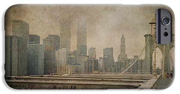 Recently Sold -  - City. Boston iPhone Cases - Vintage Old New York City Skyline with Twin Towers and Brooklyn Bridge iPhone Case by Joann Vitali
