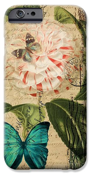 Jubilee Digital iPhone Cases - vintage paris butterfly French botanical art pink rose swirls postmark iPhone Case by Cranberry Sky