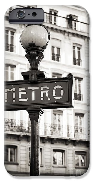 Police Art Photographs iPhone Cases - Vintage Paris Metro iPhone Case by John Rizzuto