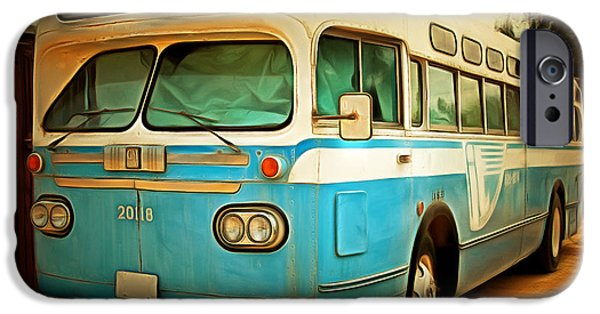 Bus In San Francisco iPhone Cases - Vintage Passenger Bus 5D28394brun iPhone Case by Wingsdomain Art and Photography