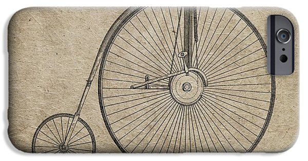 Transportation Mixed Media iPhone Cases - Vintage Penny-Farthing Bicycle Illustration iPhone Case by Dan Sproul