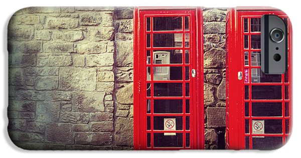 Technology iPhone Cases - Vintage phone boxes iPhone Case by Jane Rix