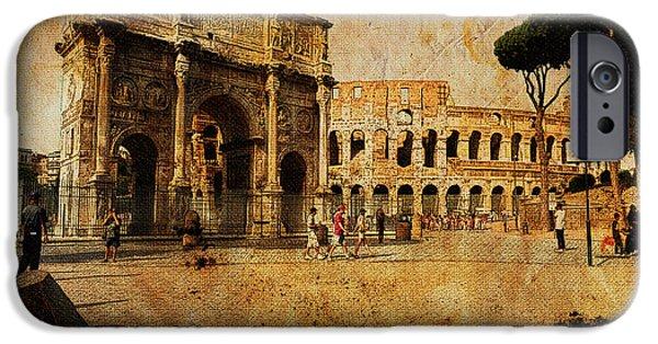 Built Structure Digital Art iPhone Cases - Vintage photo of Coliseum iPhone Case by Stefano Senise