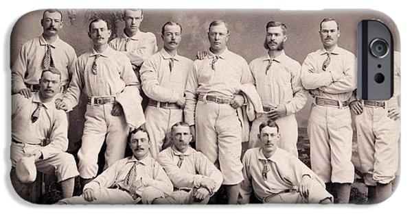 Baseball iPhone Cases - New York Metropolitans Baseball Team of 1882 iPhone Case by Jon Neidert