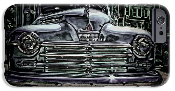 Plymouth iPhone Cases - Vintage PLYMOUTH Art Denim Dream iPhone Case by Lesa Fine