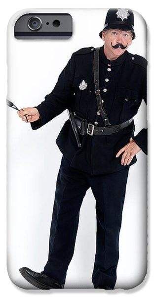 Policeman iPhone Cases - Vintage police officer with a baton iPhone Case by Oleksiy Maksymenko
